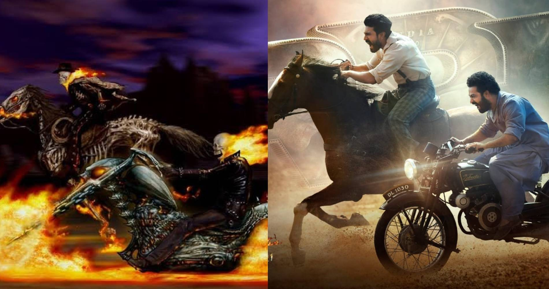 Ghost Rider poster Vs RRR release day poster